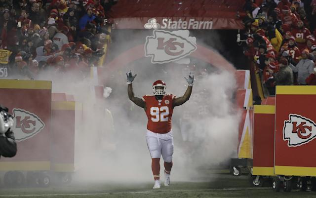 Dontari Poe brings some beef to the Falcons' defensive line. (AP)