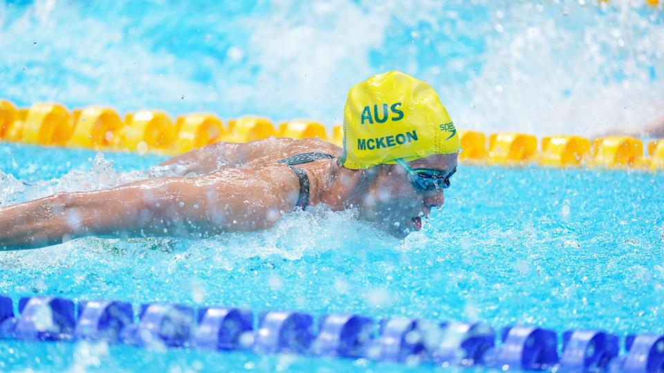 Pictured here, Emma McKeon competing in the 100m butterfly final at the Tokyo Olympics.