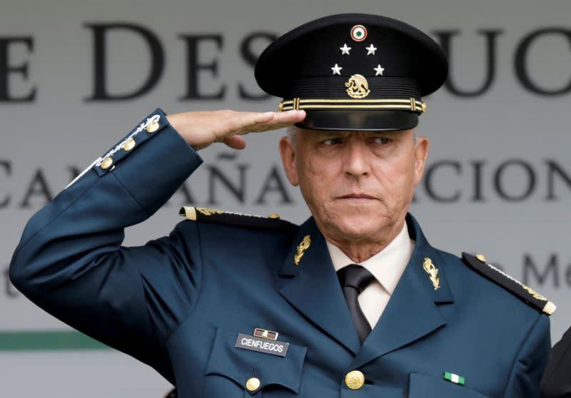 FILE PHOTO: FILE PHOTO: Mexico's Defense Minister General Salvador Cienfuegos attends an event at a military zone in Mexico City