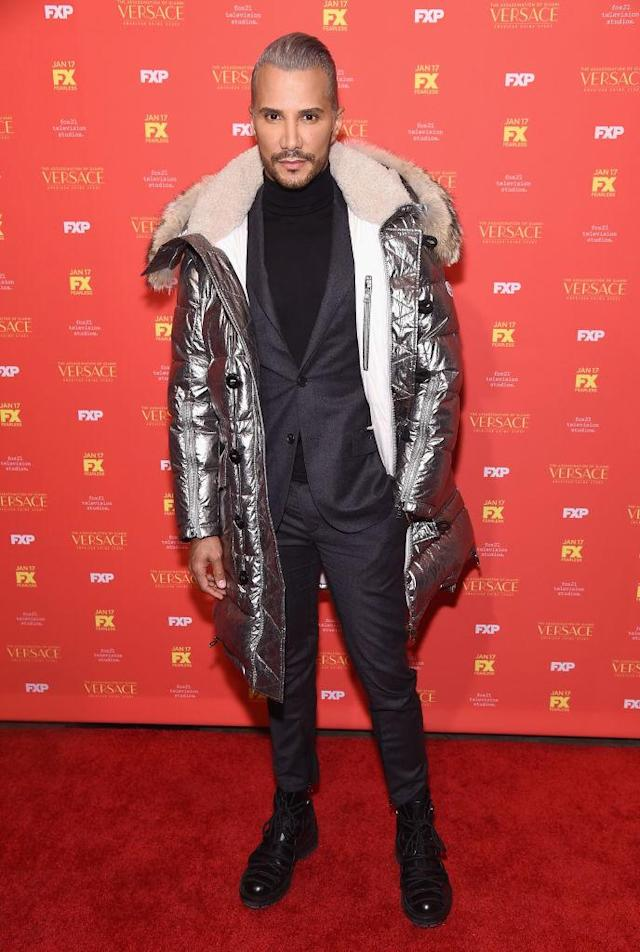 <p>The <em>America's Next Top Model</em> alum rocks a silver puffer on the red carpet. (Photo: Getty Images) </p>