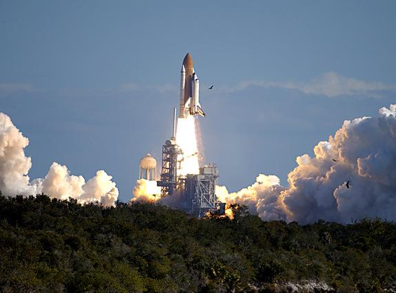 Space shuttle Columbia launches on mission STS-107, January 16, 2003.