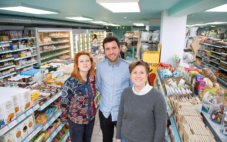 Ruth and Amy Anslow with Jack Simmonds: all are co-founders of hiSbe, a community-based grocery store in Brighton which borrows from Triodos - Simon Dack Photography