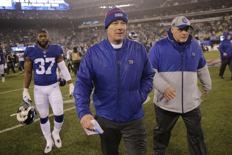 File-Ths Dec. 29, 2019, file photo shows New York Giants head coach Pat Shurmur leaving the field after an NFL football game against the Philadelphia Eagles, Sunday in East Rutherford, N.J. The Giants fired Shurmur on Monday, Dec. 30, 2019, just two years into a five-year contract, the Daily News has confirmed. (AP Photo/Seth Wenig, File)