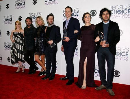 "FILE PHOTO: The cast of ""The Big Bang Theory"" poses backstage with their award during the People's Choice Awards 2016 in Los Angeles"