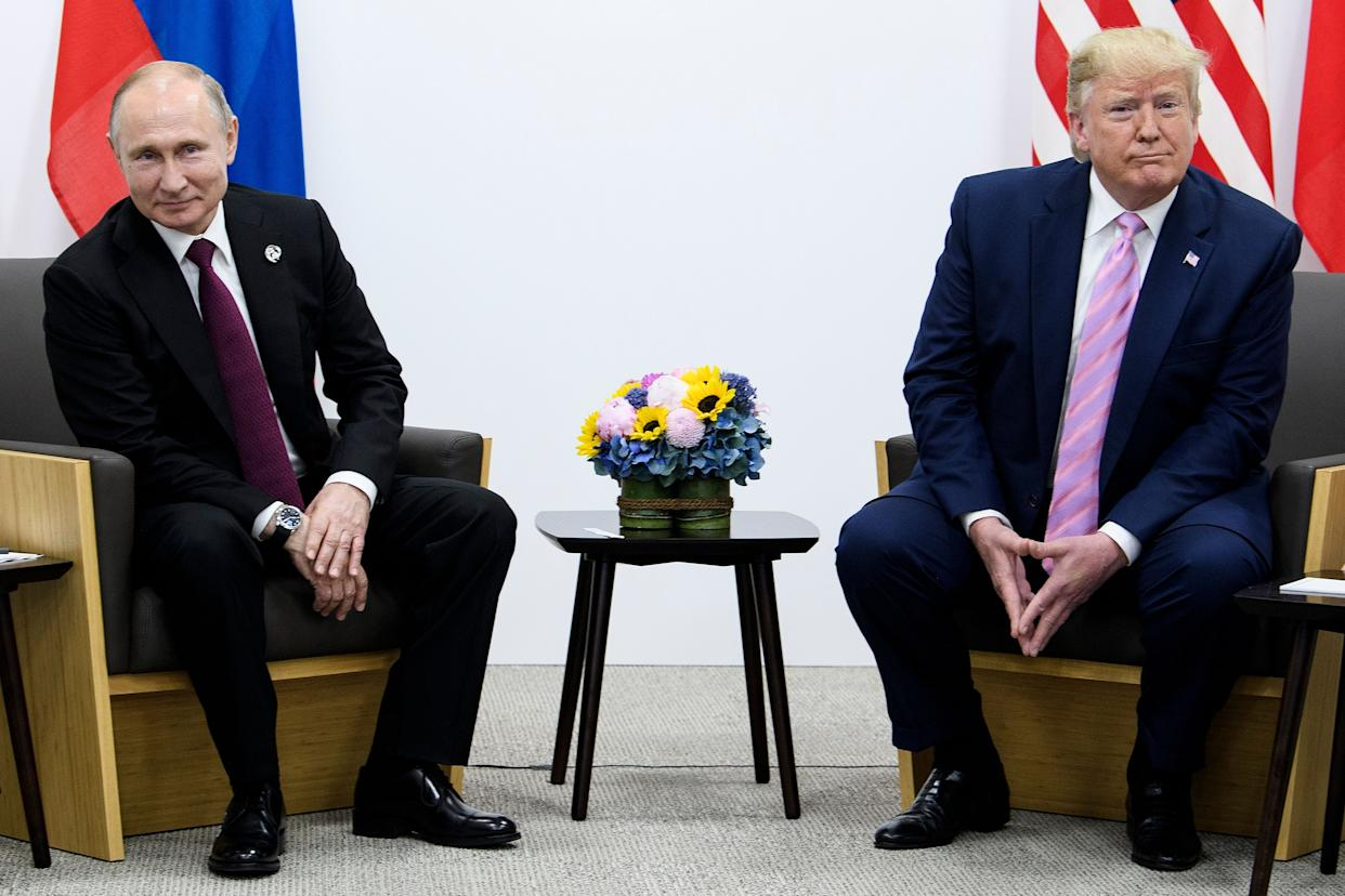 Russian President Vladimir Putin meets with President Trump during the G-20 summit in Osaka in June. (Photo: Brendan Smialowski/AFP)