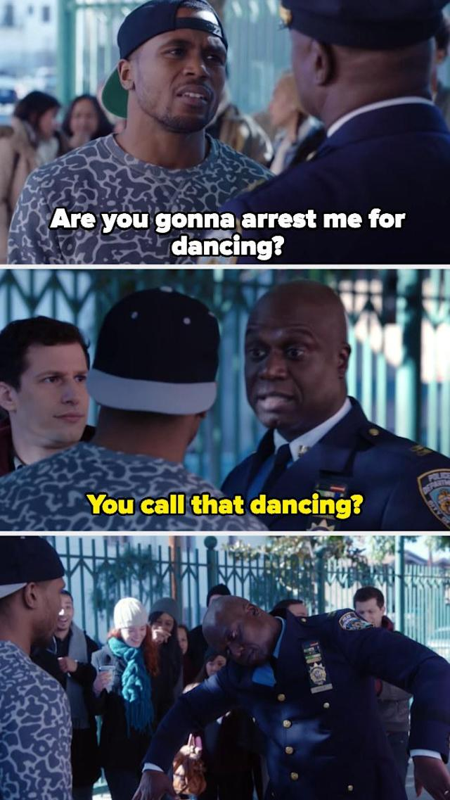 15. A scene in which Captain Holt diffuses a tense situation by the art of dance-off. However, Jake is unable to record it.