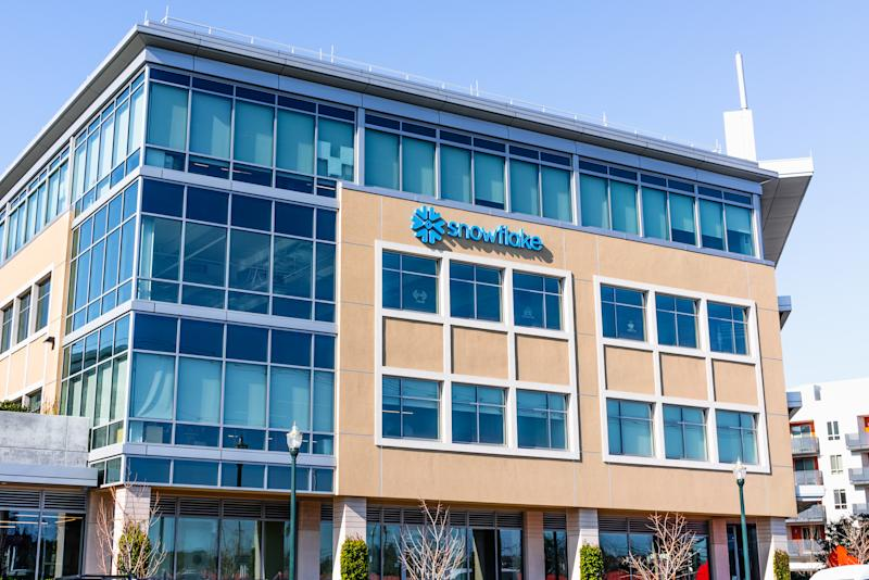 February 19, 2020 San Mateo / CA / USA - Snowflake Corporate Headquarters in Silicon Valley;  Snowflake Inc. is a cloud-based data-warehousing startup