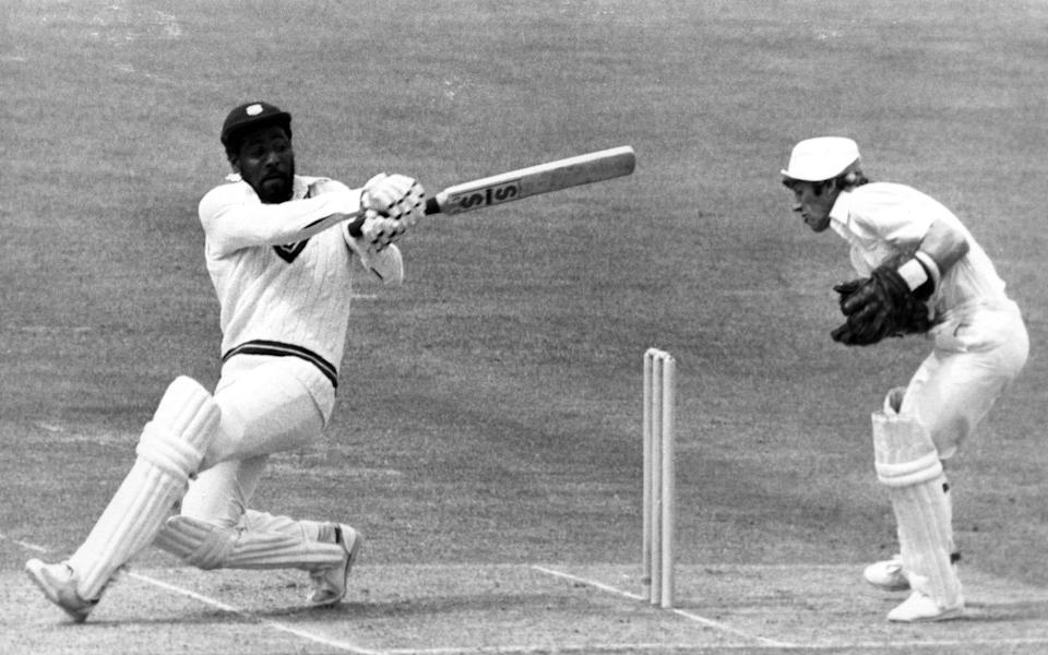 Viv Richards of the West Indies at bat against England during the Prudential World Cup at Lords in England. Richards finished at 138 not out and retained the cup by deafeating England by 92 runs - Allsport Hulton/Archive/Getty Images Sport