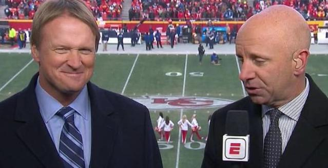 Sean McDonough was effusive in his praise of Jon Gruden, whom he says will be missed greatly as Gruden departs to coach the Oakland Raiders. (Screengrab)