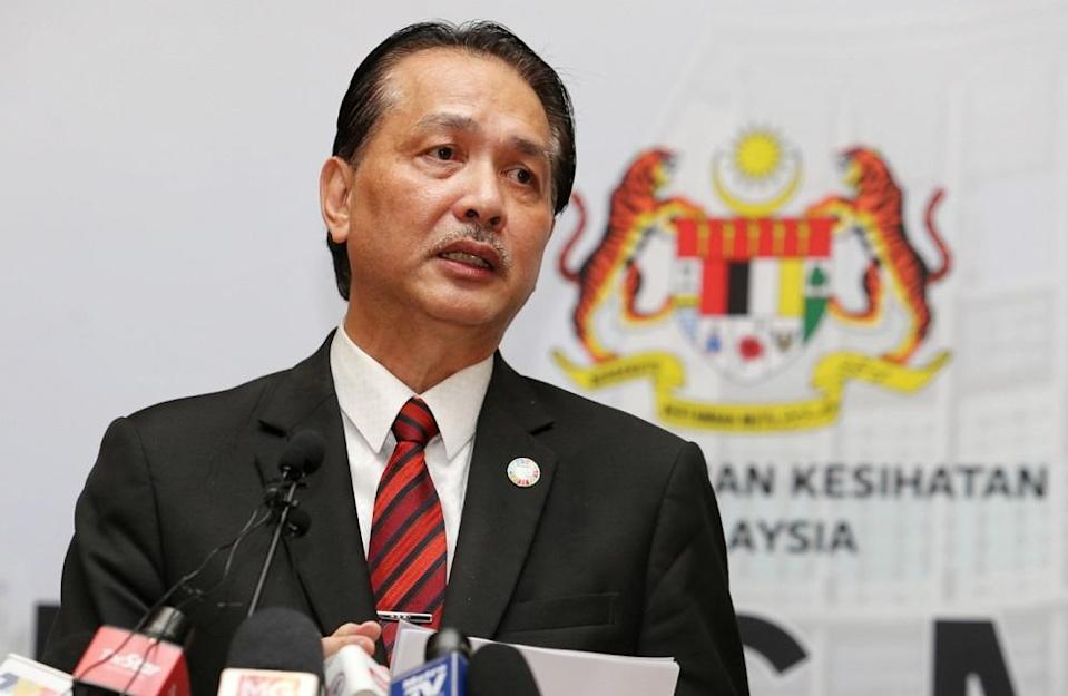 Health director-general Datuk Dr Noor Hisham Abdullah said three of the five contracted the coronavirus while abroad and two were local transmissions. — Picture by Choo Choy May