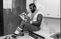 <p>Look: Mr. T can wear whatever the hell he wants—including cut-off carpenter jeans—while reading his own autobiography, Mr. T.</p>