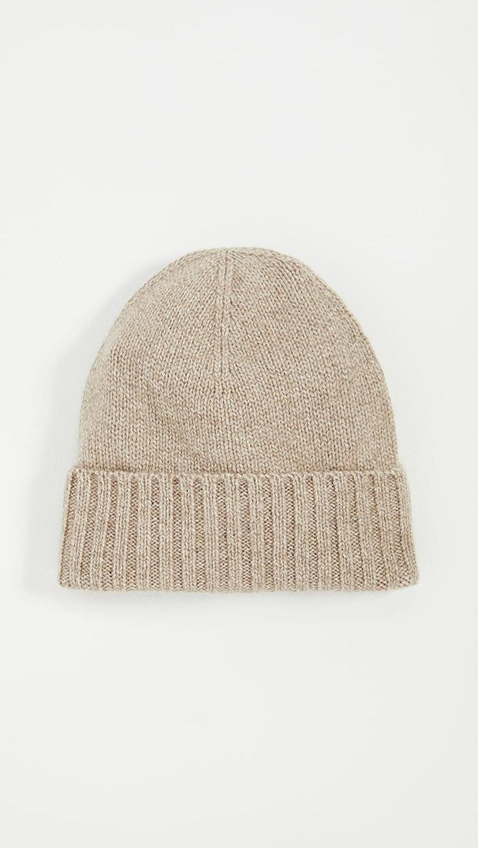 <p>Stay cozy with this <span>Hat Attack Cashmere Slouchy Cuff Hat</span> ($92).</p>