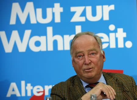 Alexander Gauland, top candidate for the Alternative for Germany party in the upcoming Brandenburg state election, addresses a news conference in Berlin