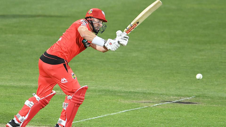Shaun Marsh can be seen here hitting a shot in the Big Bash for Melbourne Renegades.