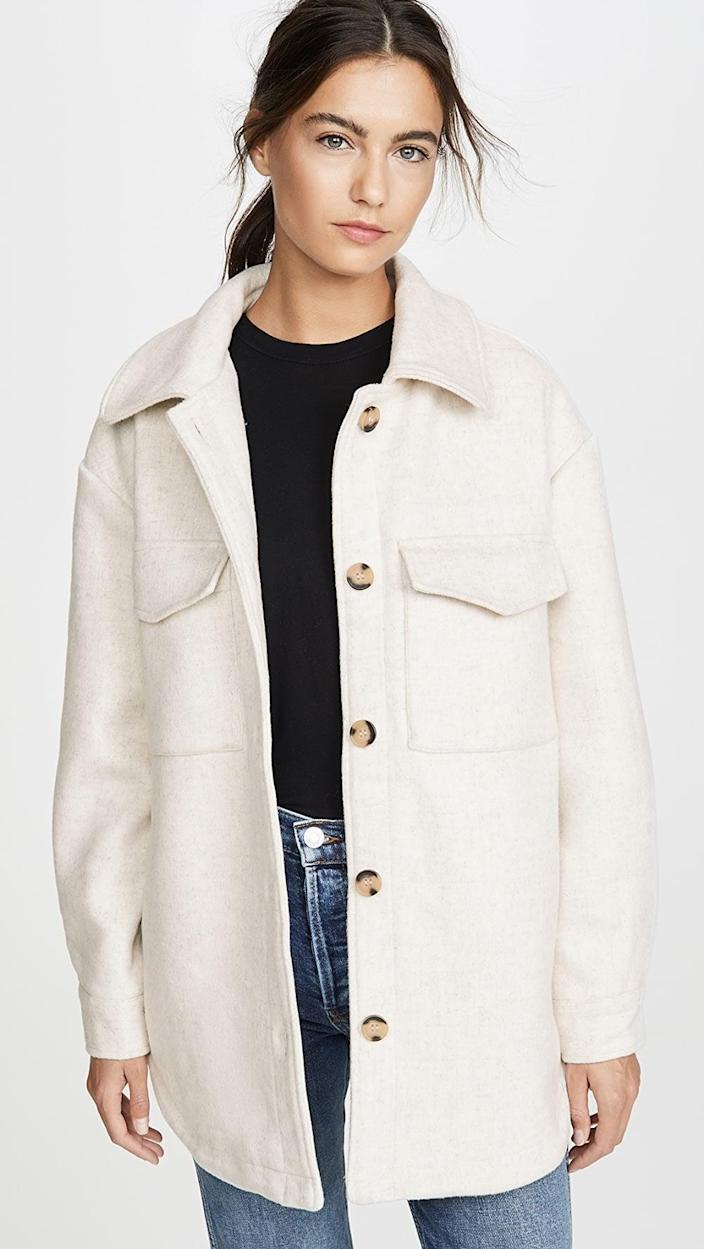 <p>This <span>Line and Dot Drew Wool-Blend Jacket</span> ($184) truly matches everything.</p>