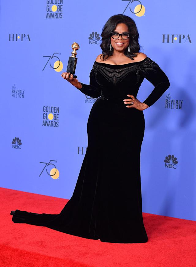 Oprah Winfrey attends the 2018 Golden Globes. (Photo: Getty Images)