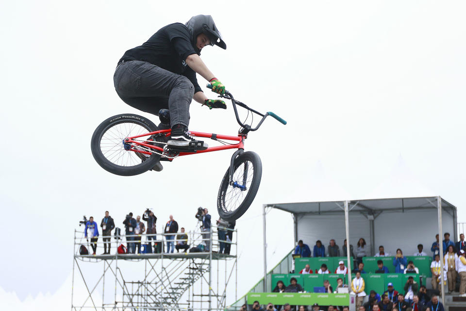 Hannah Roberts gets big air during the women's freestyle BMX final at the 2019 Pan American Games. (Photo by Cesar Gomez/Jam Media/Getty Images)