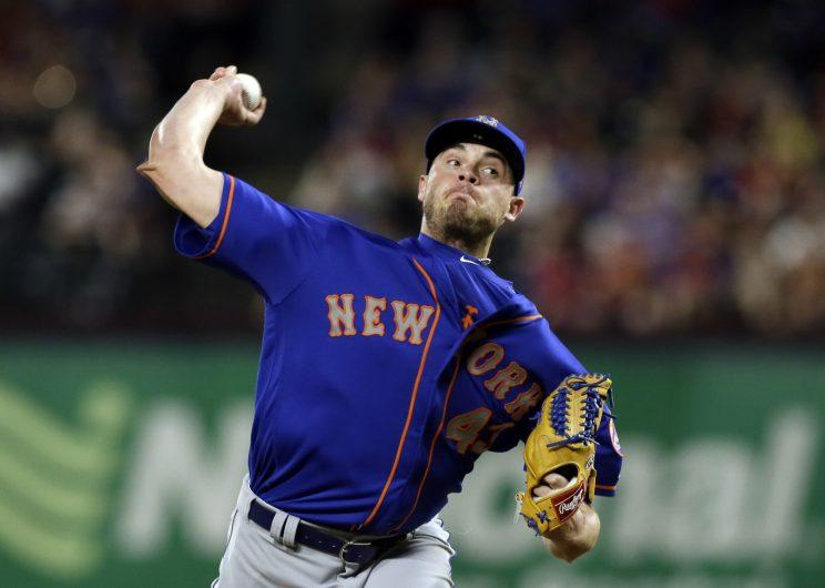 New York Mets relief pitcher Addison Reed (43) throws to the Texas Rangers in the ninth inning of a baseball game, Wednesday, June 7, 2017, in Arlington, Texas. (AP Photo/Tony Gutierrez)