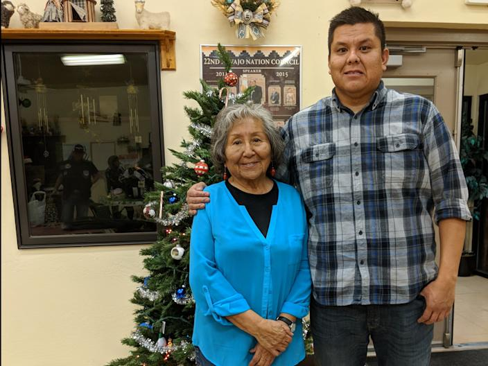 Tyrone Whitehorse with one of his grandmothers.