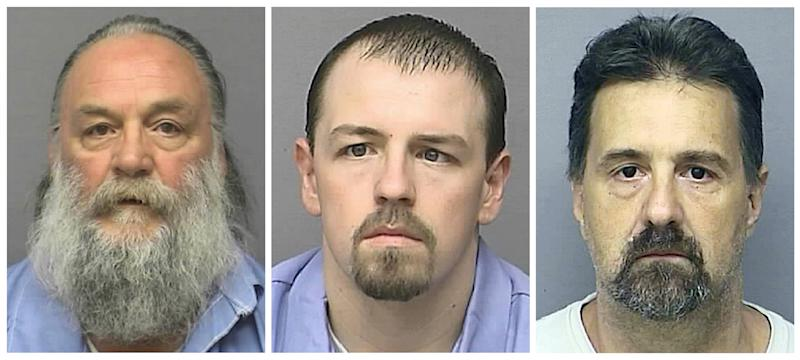 FILE - This file photo combo of undated images provided by the Kansas Department of Corrections shows inmates, from left, Randy A. Ridens Sr., Allen M. Hurst and Scott A. Gilbert. Platte County, Mo., Prosecutor Eric Zahnd said Saturday, May 11, 2013, that Hurst and Gilbert are charged with 12 felonies after escaping from the minimum-security unit at the Lansing, Kan., Correction Facility on Friday. Ridens, the third inmate who escaped with Hurst and Gilbert, was arrested Friday night in Kansas. (AP Photo/Kansas Department of Corrections, File)