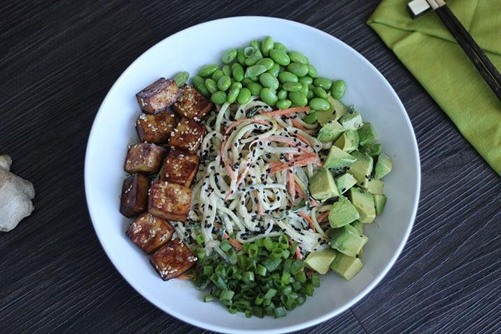 "<p>Edamame + avocados + zoodles, get the recipe <a href=""http://inspiralized.com/meatless-monday-spiralized-vegetable-tahini-bowl-with-tofu-edamame-avocado/"" target=""_blank"" class=""ga-track"" data-ga-category=""Related"" data-ga-label=""http://inspiralized.com/meatless-monday-spiralized-vegetable-tahini-bowl-with-tofu-edamame-avocado/"" data-ga-action=""In-Line Links"">here</a>. </p>"