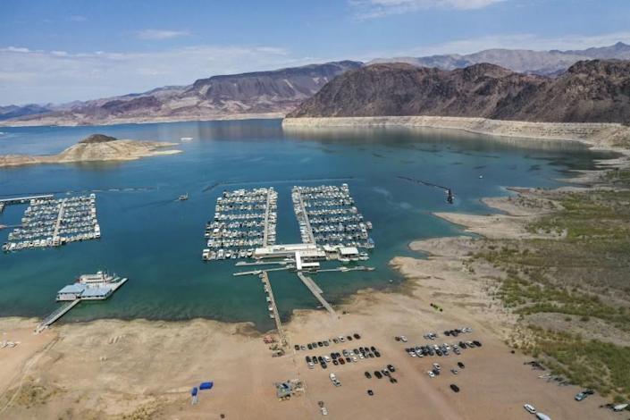 Lake Mead, NV - June 28: An aerial view of drought's effect at Hemenway Harbor, Lake Mead, which is at its lowest level in history since it was filled 85 years ago, Monday, June 28, 2021. The ongoing drought has made a severe impact on Lake Mead and a milestone in the Colorado River's crisis. High temperatures, increased contractual demands for water and diminishing supply are shrinking the flow into Lake Mead. Lake Mead is the largest reservoir in the U.S., stretching 112 miles long, a shoreline of 759 miles, a total capacity of 28,255,000 acre-feet, and a maximum depth of 532 feet. (Allen J. Schaben / Los Angeles Times)
