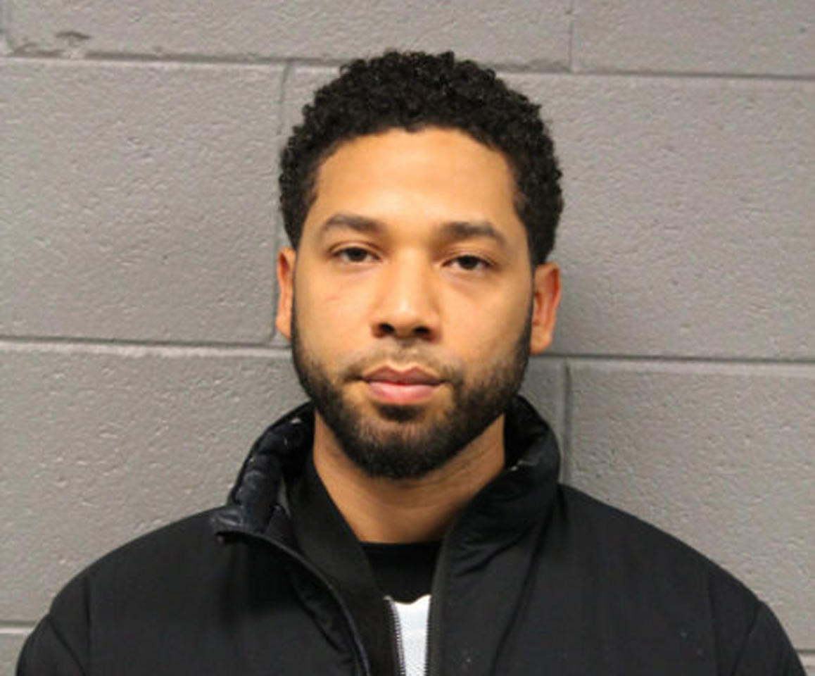 "This Feb. 21, 2019 photo released by the Chicago Police Department shows Jussie Smollett. Police say the ""Empire"" actor turned himself in early Thursday to face a charge of making a false police report when he said he was attacked in downtown Chicago by two men who hurled racist and anti-gay slurs and looped a rope around his neck. (Chicago Police Department via AP)"