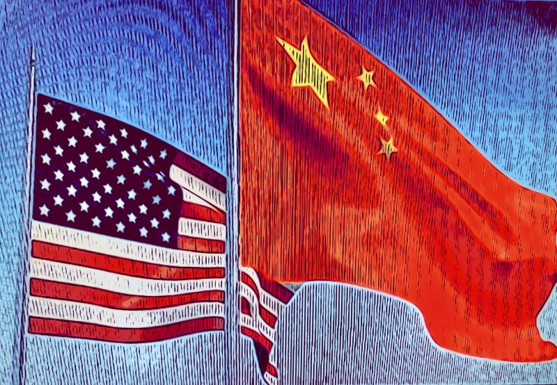 USA China flags flying - trade war illustration