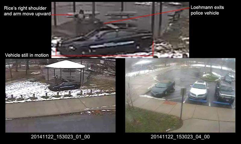 This photo of a combination of still images taken from a surveillance video shows officers arriving at Cudell Park on a report of a man with a gun. Photo: Cuyahoga County Prosecutor's Office