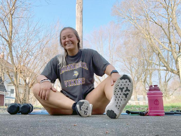 Maria Sakellaris, 24, is a physical education teacher at Kewanee High School in Illinois who is using social media tools such as Twitter and TikTok to help students and athletes maintain their fitness during the pandemic.