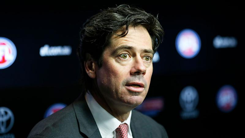 Pictured here, AFL CEO Gillon McLachlan discussing the impact of coronavirus on the 2020 season.