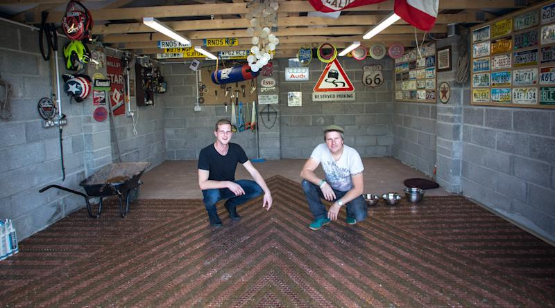 Father and son team tile their garage floor using 33,700 shiny 2p coins