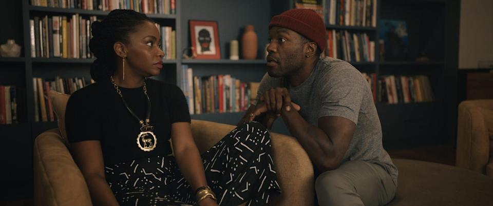 """Brianna (Teyonah Parris) worries about Anthony (Yahya Abdul-Mateen II) when his artistic inspirations and work begin to lean very dark in """"Candyman."""""""