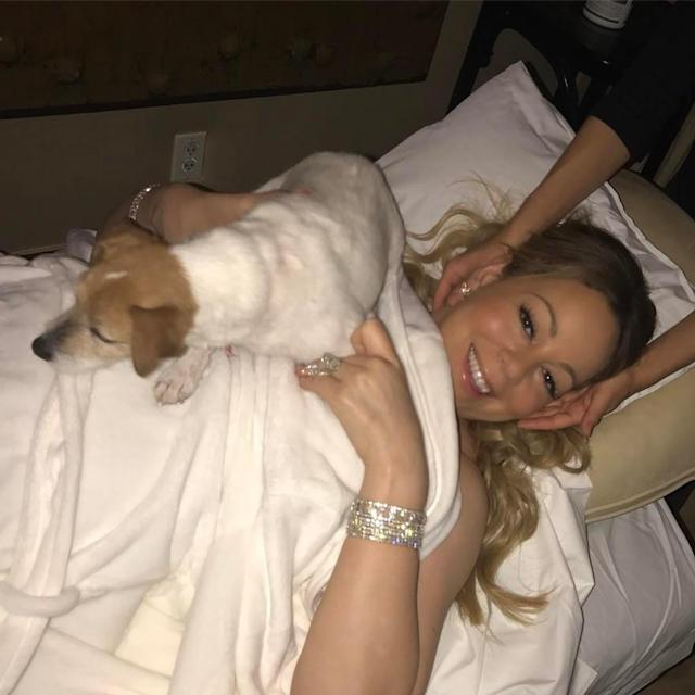 """<p>Meanwhile, Cannon's ex was enjoying """"spa night"""" with their twins. """"Even #chacha gets pampered tonight,"""" the blinged-out diva noted. (Photo: <a href=""""https://www.instagram.com/p/BTxy3oiDZfg/"""" rel=""""nofollow noopener"""" target=""""_blank"""" data-ylk=""""slk:Mariah Carey via Instagram"""" class=""""link rapid-noclick-resp"""">Mariah Carey via Instagram</a>) </p>"""