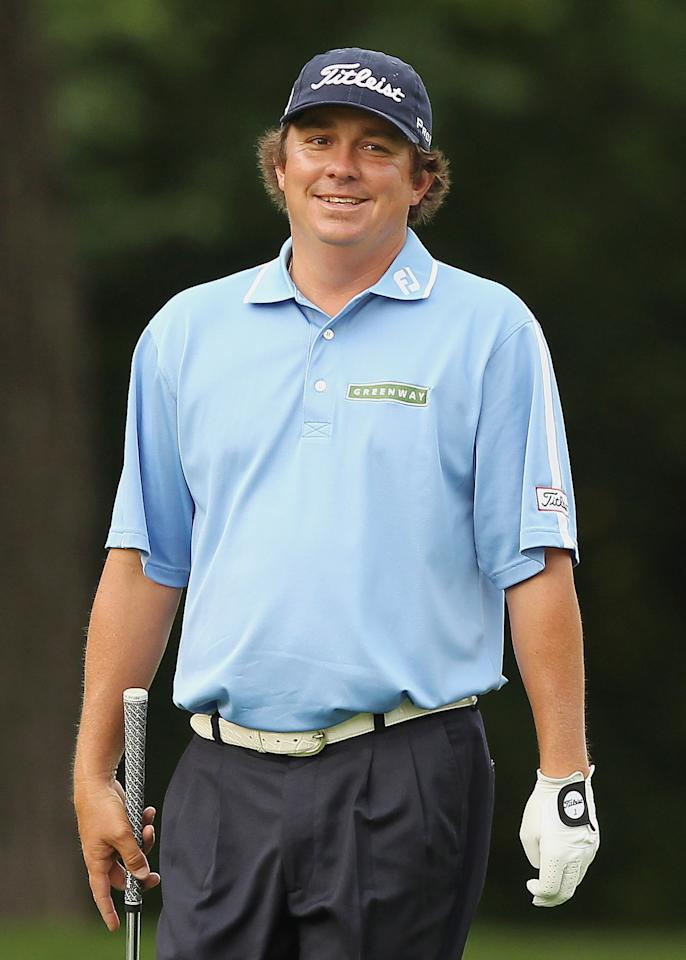 FORT WORTH, TX - MAY 25:  Jason Dufner smiles as he walks up the 11th fairway during the second round of the Crowne Plaza Invitational at Colonial at the Colonial Country Club on May 25, 2012 in Fort Worth, Texas.  (Photo by Scott Halleran/Getty Images)