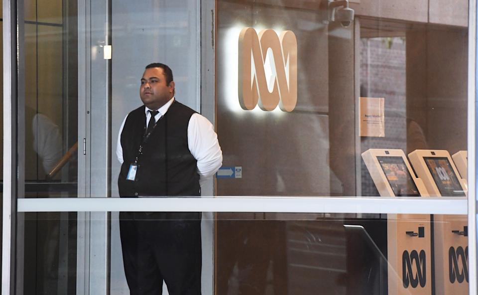 The ABC office in Sydney, pictured here with a security guard out the front.