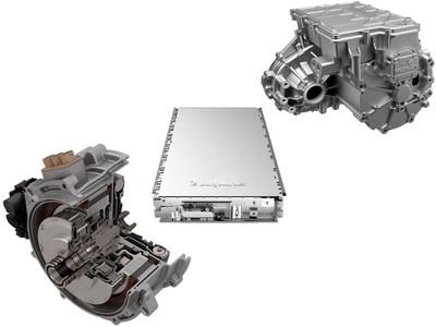 BorgWarner's P2 module (left), battery packs (middle) and the eAxle iDM (right)