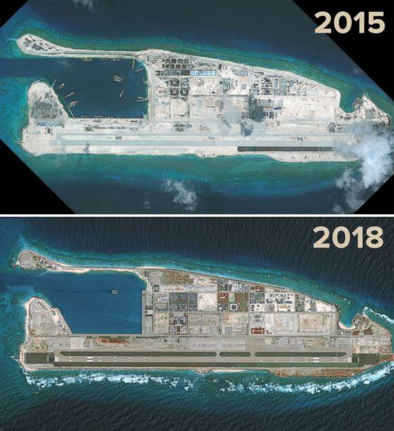 PHOTO: DigitalGlobe satellite imagery from Sept. 3, 2015 and Aug. 15, 2018 show the progress of development on the Fiery Cross Reef located in the South China Sea. (DigitalGlobe/Getty Images)
