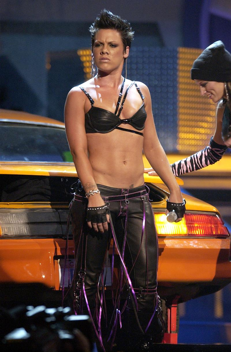 P!nk pictured in 2003 performing at the MTV Movie Awards. [Photo: Getty]