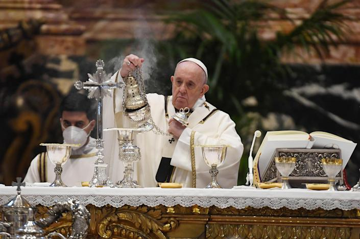 Pope Francis attends the Chrism Mass at St. Peter's Basilica, April 1, 2021 at the Vatican. / Credit: Vatican Pool/Getty