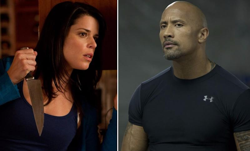Neve Campbell teaming up with Dwayne Johnson on 'Skyscraper' (credit: Dimension Films, Universal)
