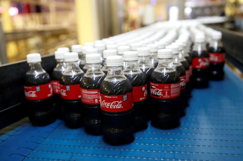 FILE PHOTO: Coca Cola plastic bottles or seen on the production line of the Coca Cola factory in Nairobi