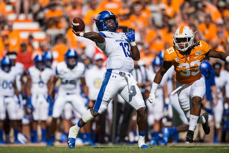 Georgia State Panthers quarterback Dan Ellington combined for three touchdowns in a season-opening upset win over Tennessee. (Photo by Bryan Lynn/Icon Sportswire via Getty Images)