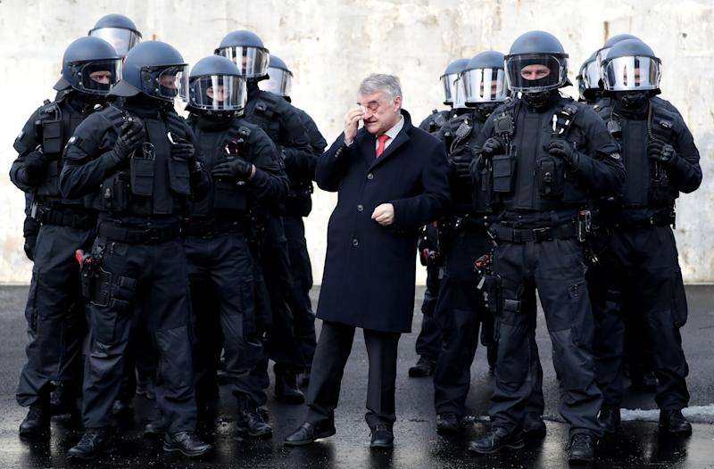 Herbert Reul, North Rhine-Westphalia's interior minister presents the state's unit for arrests and securing evidence in February 2019 (EPA)