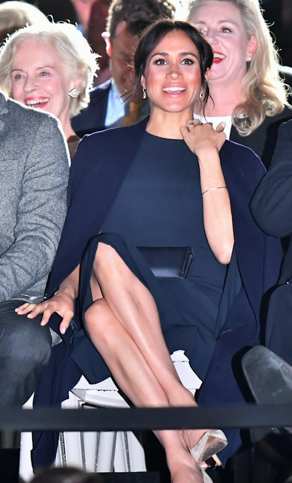 """<p>Meghan <a href=""""https://www.popsugar.com/fashion/Meghan-Markle-Wears-Stella-McCartney-Cape-Dress-October-2018-45403271"""" class=""""ga-track"""" data-ga-category=""""Related"""" data-ga-label=""""https://www.popsugar.com/fashion/Meghan-Markle-Wears-Stella-McCartney-Cape-Dress-October-2018-45403271"""" data-ga-action=""""In-Line Links"""">rewore this fab Stella McCartney dress</a> a few months later for the Invictus Games Sydney 2018 Opening Ceremony in October 2018.</p>"""