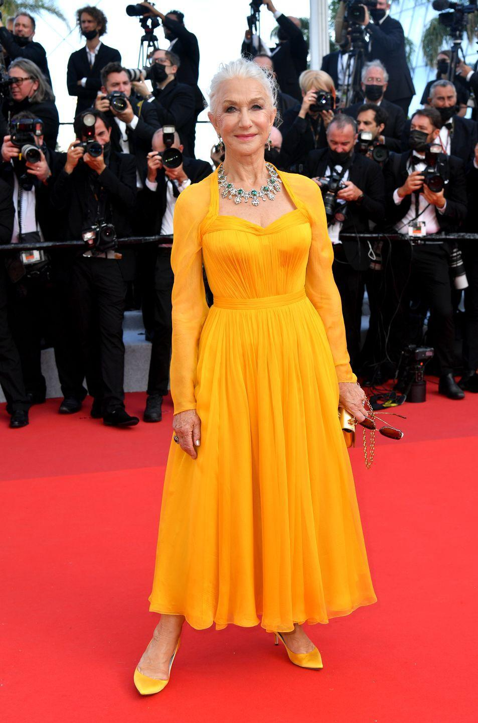 <p>Helen Mirren brought a welcome splash of colour to the proceedings in her sunny yellow dress. </p>