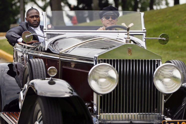 Antonio Brown arrived to Steelers training camp in style. (AP)