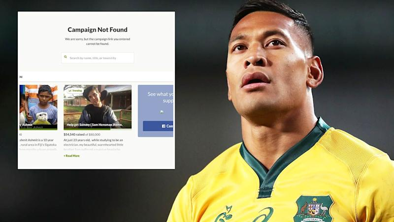 Israel Folau's page was taken down. Image: Getty/GoFundMe