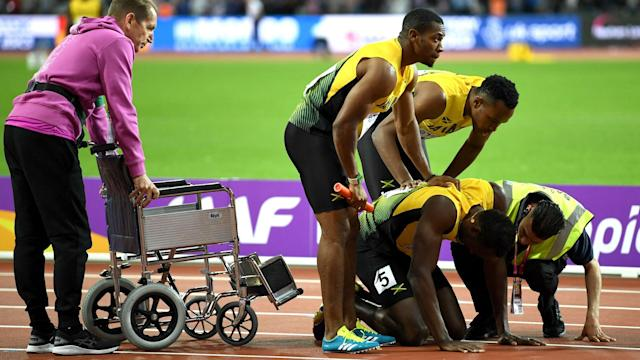 Usain Bolt failed to complete the final race of his trailblazing career as cramp left him laying on the ground in the 4x100m relay final.