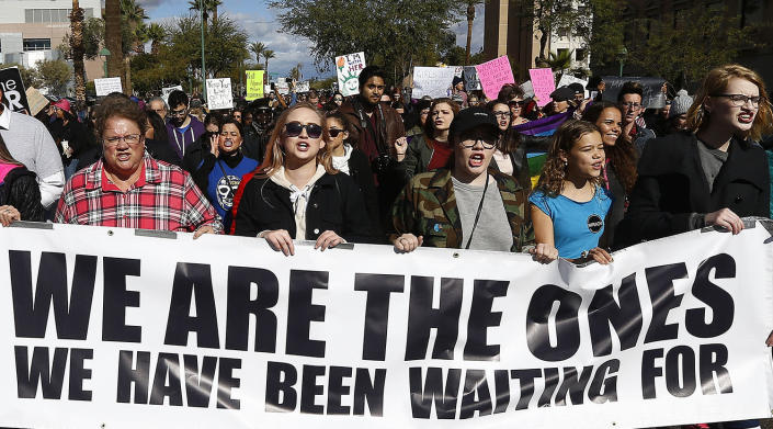 <p>Demonstrators shout as they march in support of the Women's March on Washington Saturday, Jan. 21, 2017, in Phoenix. (AP Photo/Ross D. Franklin) </p>